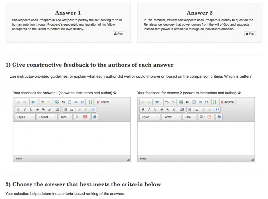 Beginning of the answer pair comparison in the application